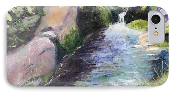IPhone Case featuring the painting mountain Stream by Sherril Porter