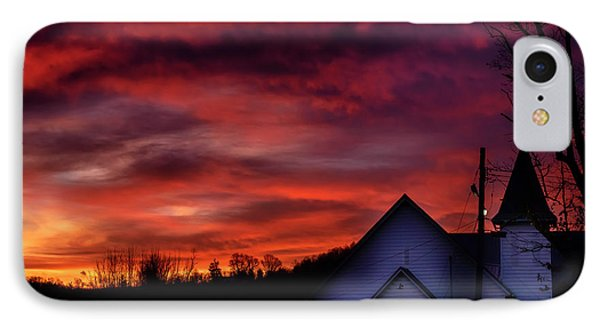 IPhone Case featuring the photograph Mountain Sunrise And Church by Thomas R Fletcher