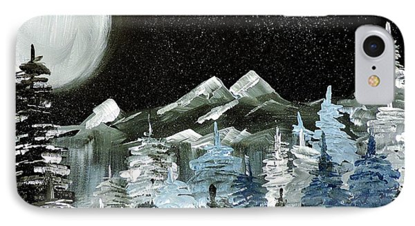 Mountain Winter Night IPhone Case by Tom Riggs