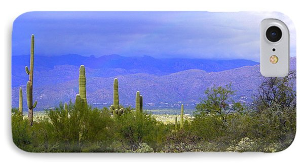 Mountains And Saguaros IPhone Case by Teresa Stallings