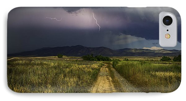 Mountain Lightning IPhone Case by Janet Ballard