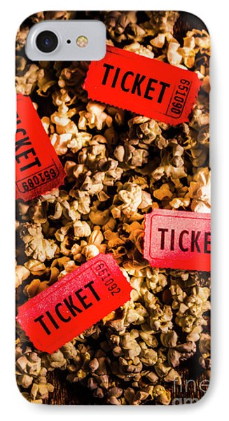 Movie Tickets On Scattered Popcorn IPhone Case by Jorgo Photography - Wall Art Gallery