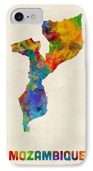 Mozambique Watercolor Map IPhone Case