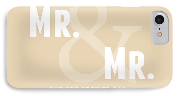 Mr And Mr And Dog- Sand IPhone Case by Linda Woods