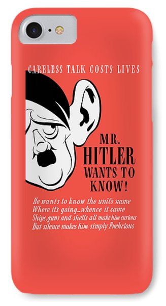 Mr Hitler Wants To Know - Ww2 Propaganda  IPhone Case