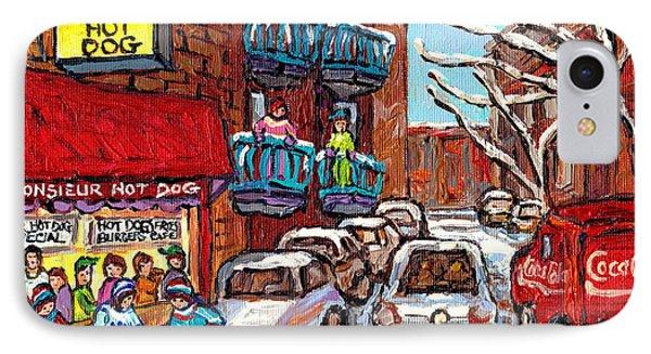 Mr Hot Dog Restaurant Montreal Memories Hockey Game Winter Street Scene Canadian Art Carole Spandau  IPhone Case by Carole Spandau