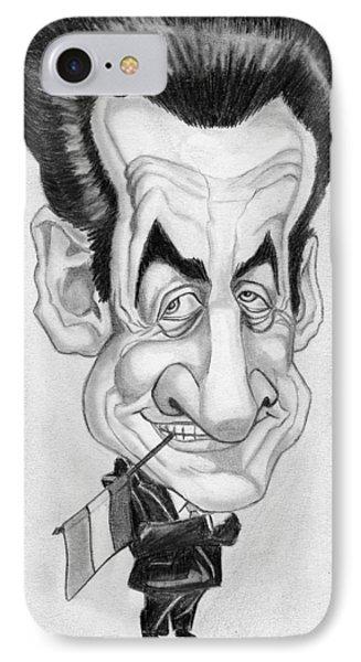Mr Nicolas Sarkozi Caricatur Portrait IPhone Case