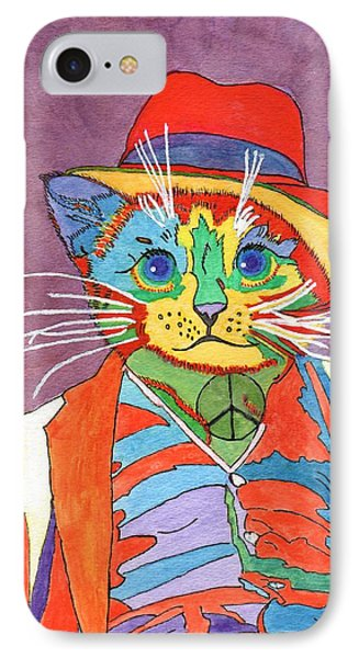 IPhone Case featuring the painting Mr.wisker For Peace by Connie Valasco