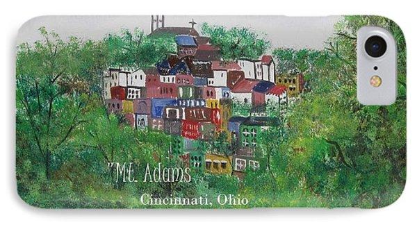 Mt Adams Cincinnati Ohio With Title IPhone Case by Diane Pape