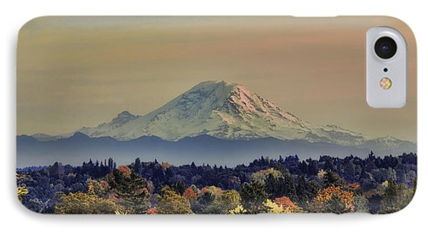 Mt Rainer Fall Color Rising IPhone Case by James Heckt
