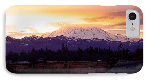 Mt. Rainier On Fire IPhone Case by Shirley Heyn