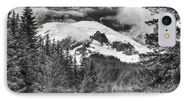 IPhone Case featuring the photograph Mt Rainier View - Bw by Stephen Stookey