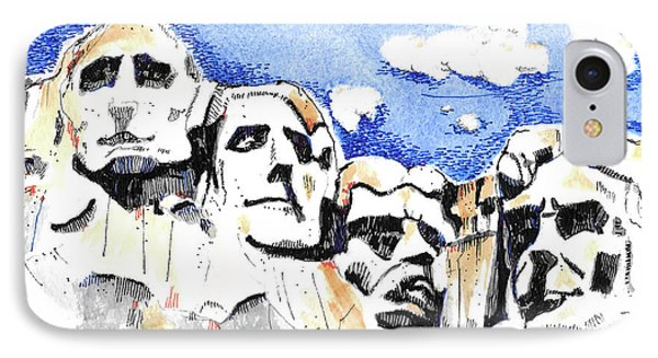 IPhone Case featuring the painting Mt. Rushmore, Usa by Terry Banderas