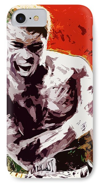 Muhammed Ali Boxing Champ Digital Paintng IPhone Case by David Haskett