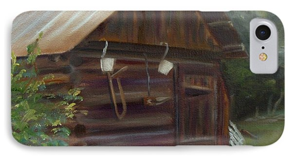 IPhone Case featuring the painting Mulberry Farms Grainery by Donna Tuten