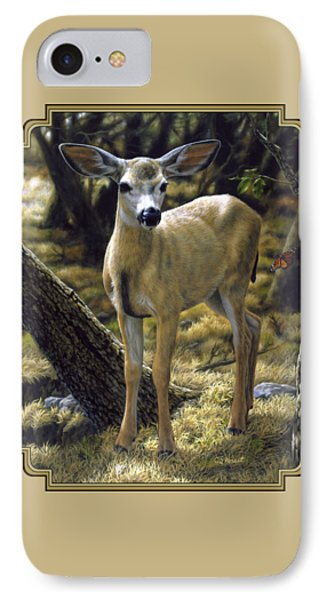 Mule Deer Fawn - Monarch Moment IPhone Case