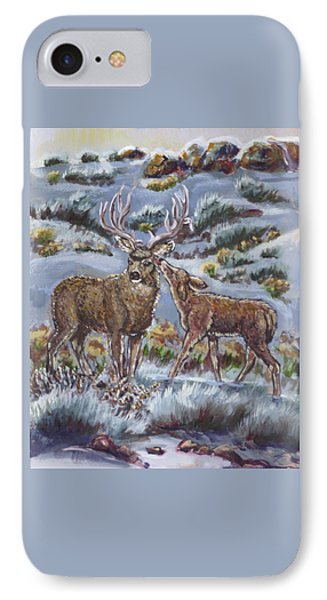 IPhone Case featuring the painting Mule Deer Lovers From River Mural by Dawn Senior-Trask