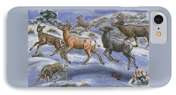 IPhone Case featuring the painting Mule Deer Surprise by Dawn Senior-Trask