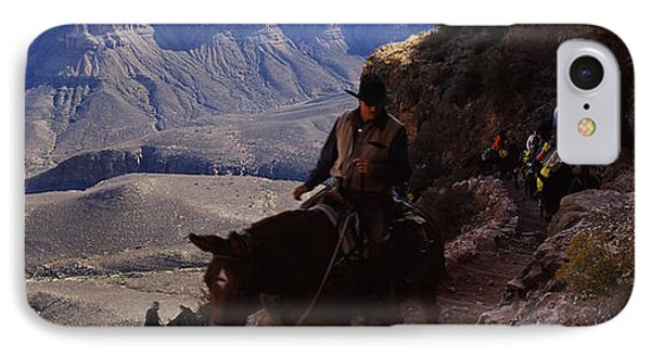 Mule Riders And Hikers On The Trail IPhone Case