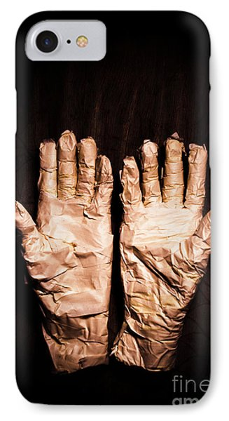 Mummy's Hands Over Dark Background IPhone Case by Jorgo Photography - Wall Art Gallery