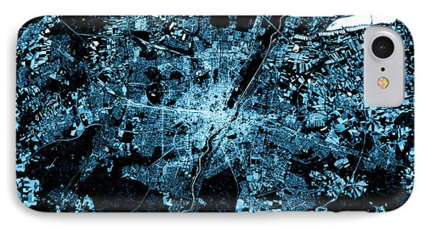 Munich Abstract City Map Top View Dark IPhone Case by Frank Ramspott
