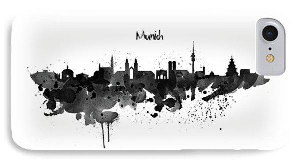 Munich Black And White Skyline Silhouette IPhone Case by Marian Voicu