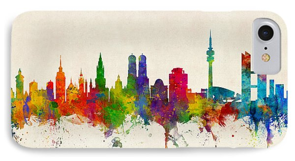 Munich Germany Skyline IPhone Case by Michael Tompsett