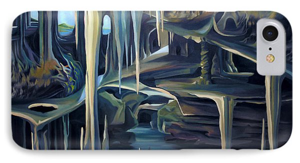 IPhone Case featuring the painting Mural Ice Monks In November by Nancy Griswold