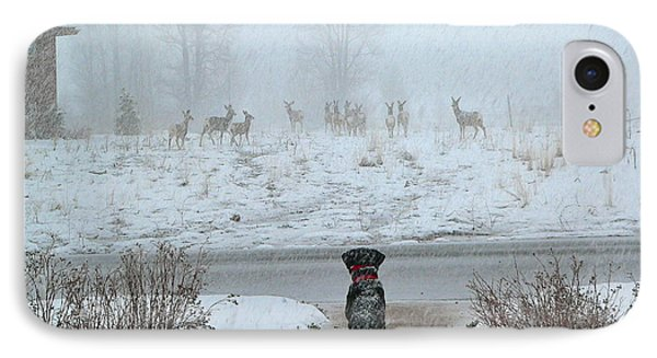 Murphy Watches The Deer IPhone Case by Eric Tressler