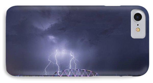 Muscatine Bridge Lightning Phone Case by Paul Brooks
