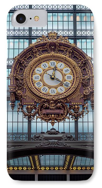 Musee D'orsay Gold Clock IPhone Case by Joan Carroll