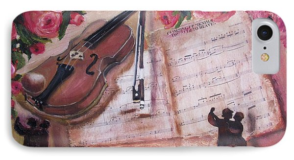 Music And Roses IPhone Case by Vesna Martinjak