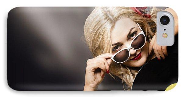 Music Dj Girl Holding Audio Vinyl Record IPhone Case by Jorgo Photography - Wall Art Gallery
