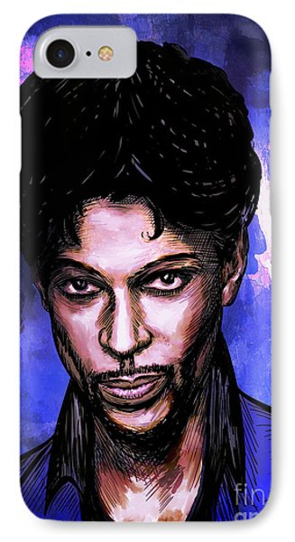 IPhone Case featuring the painting Music Legend  Prince by Andrzej Szczerski