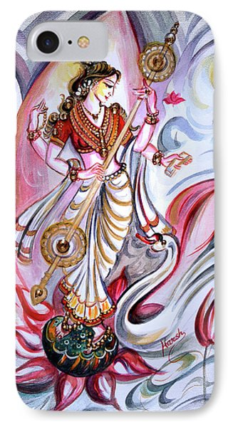 Musical Goddess Saraswati - Healing Art IPhone Case by Harsh Malik