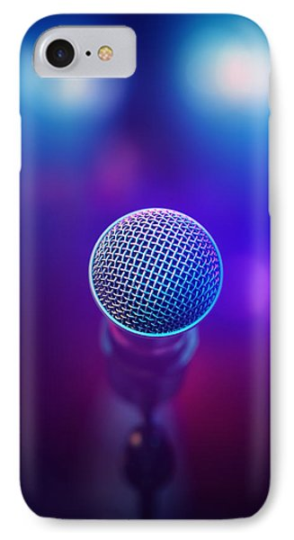 Musical Microphone On Stage IPhone Case by Johan Swanepoel