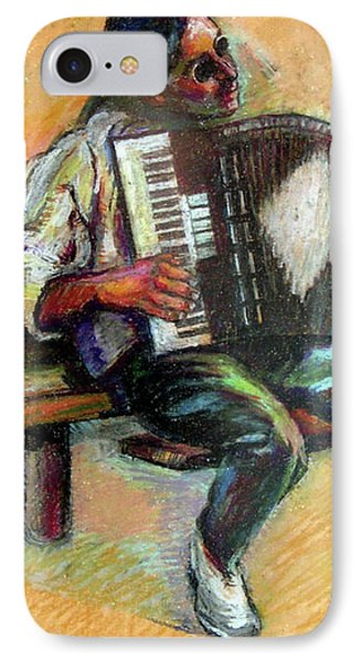 Musician With Accordion IPhone Case by Stan Esson