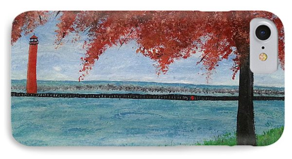 Muskegon Channel Lighthouse Fall IPhone Case by Myrtle Joy