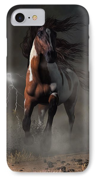 Mustang Horse In A Storm IPhone Case by Daniel Eskridge