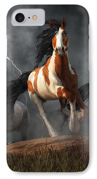 Mustangs Of The Storm IPhone Case by Daniel Eskridge