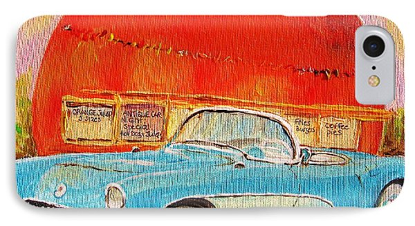 My Blue Corvette At The Orange Julep Phone Case by Carole Spandau