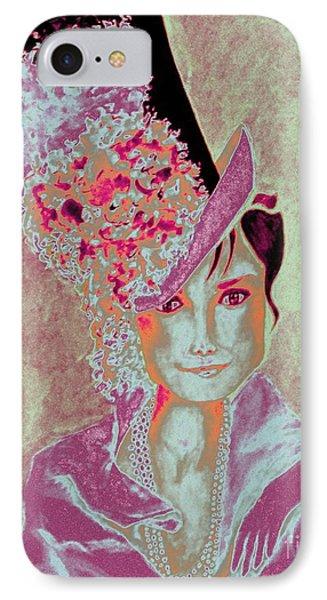 My Fair Audrey -- In Raspberry And Orange IPhone Case