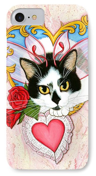 IPhone Case featuring the painting My Feline Valentine Tuxedo Cat by Carrie Hawks