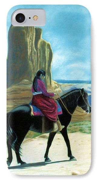 IPhone Case featuring the pastel My Grandfather's Pony by Jan Amiss
