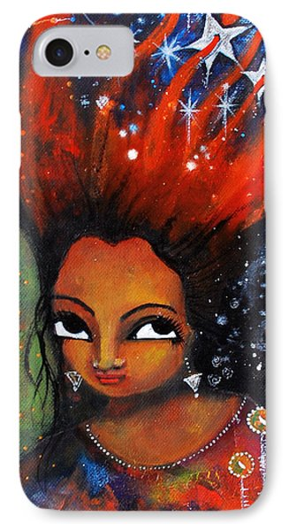 IPhone Case featuring the mixed media My Hair Is Being Pulled By The Stars  by Prerna Poojara