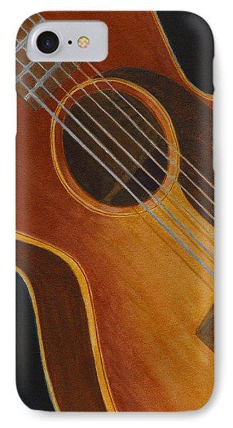 IPhone Case featuring the painting My Old Sunburst Guitar by Karen Fleschler