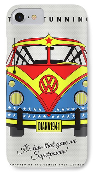 My Superhero-vw-t1-supermanmy Superhero-vw-t1-wonder Woman IPhone Case by Chungkong Art