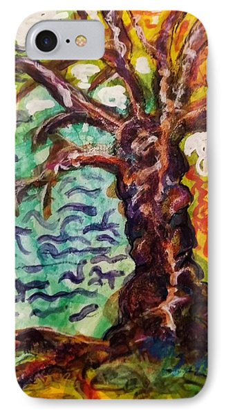 IPhone Case featuring the mixed media My Treefriend by Mimulux patricia no No