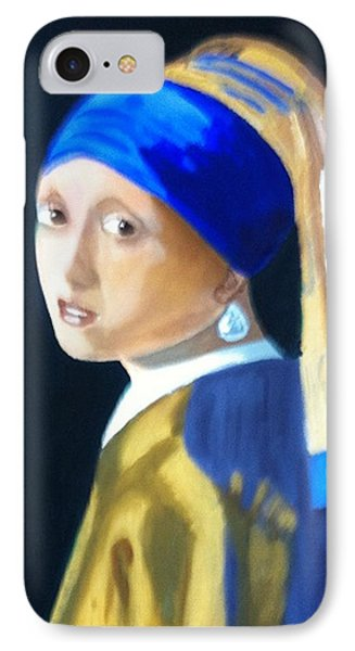 IPhone Case featuring the painting My Version-girl With The Pearl Earring by Rod Jellison