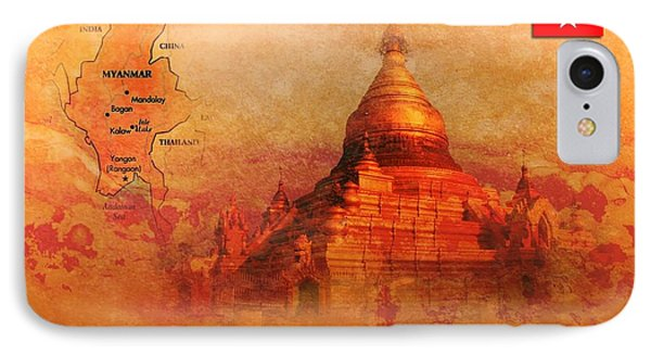Myanmar Temple Kutho Daw Pagoda IPhone Case by John Wills